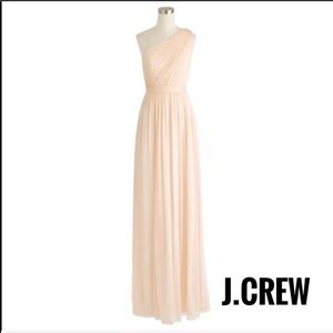 J. Crew Cream One Shoulder Silk Long Gown